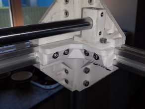 Strong 2020 corner bracket with mounting points for 12mm linear rail mounts