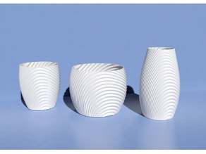 Wavy organic bowl, cups, vase and flower pot.