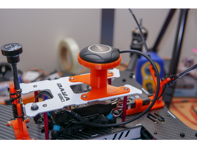 Daya H4 680 quadcopter drone GPS puck mount by cjdavies