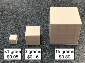3D Printing Cost Calculation Cubes