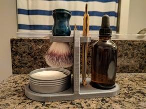 Wet Shaving Stand for Straight Razor, Brush, Soap, and Oil