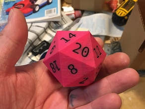 Two Color D20 with Flush Numbers