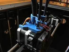 Flashforge Creator X/Pro extruder filament tube bracket with press-in tube holding clip