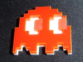 Blinky (pac-man ghost) magnet - Laserable