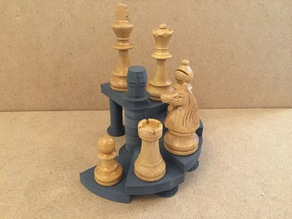 Spiral staircase display stand e.g. for chess sets