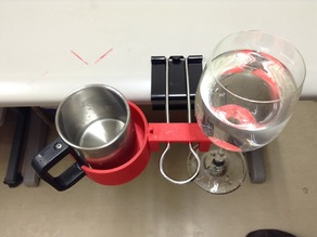Cup and wine glass holder for the binderclip
