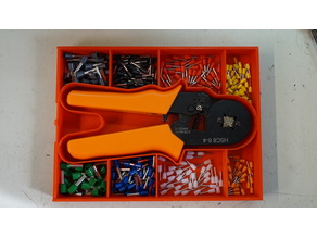 Box for crimping tool and pins