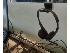 Glass desk divider Headphones Holder