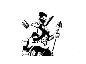 Cyborg Hanzo Stencil
