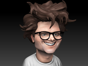 3D Printable Caricature bust of Mark Frauenfelder