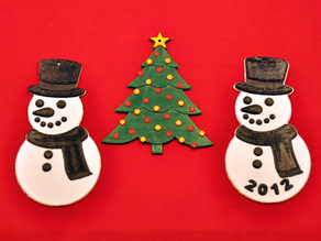 Snowman and Christmas Tree ornaments