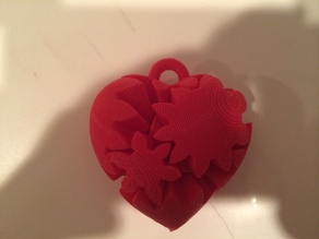 Working Micro Gear Heart Keychain with PLA Pins