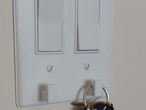 Decora double switch plate with key hooks