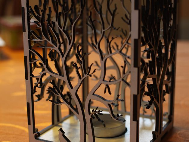 laser cut wood box template - candle holder laser cut tree animals by lifelix