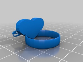 Ring with heart and love text