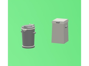 Garbage bins H0/HO scale (Swedish 70th to 80th design)