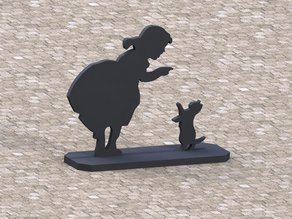 Silhoutte of CAT and Girl