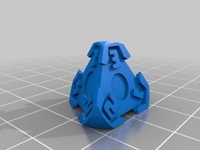 D4 Futuristic Pyramid Gears Dice - 3-Numbers