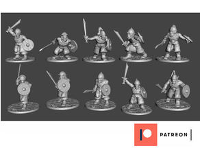 28mm - Orc / Goblin / Hobgoblin Miniatures x 10 With Swords Set2
