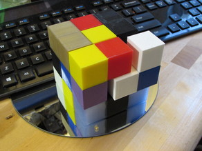 Soma Cube from recycled 25mm calibration cubes.