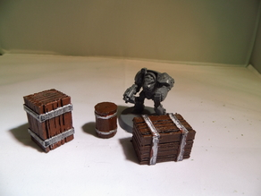 28 mm warhammer scale - accessories - barrel and crate