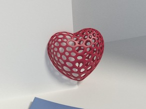 Heart with slot on one side - Voronoi Style