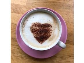 Valentines Heart Cappuccino Stencil