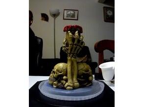 dual skeletal vampire  skull candle holder