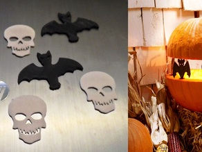Flat Bat & Skull for Jack-o-lantern project