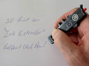 """Ink Extruder"" - Ballpoint Click Pen that looks like a Smart Extruder!"