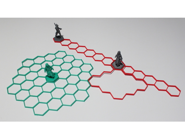 RPG hexagonal grid AOE templates by quasipedia - Thingiverse