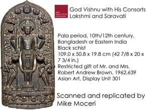God Vishnu with His Consorts Lakshmi and Saravati