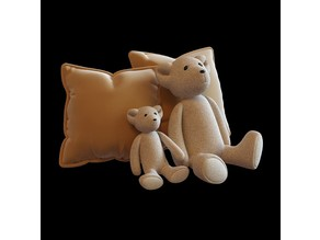 Toy bear figure with pillows