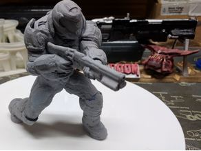 Doomguy posed with shotgun