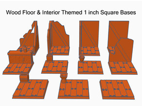1 Inch Square Miniature Bases (x11) Wooden Interior Themed for Dungeons & Dragons or Warhammer 40k tabletop Miniatures
