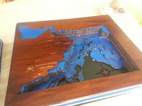Bathymetric Laser Cut Map of Arabian Sea