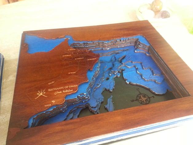 Bathymetric Laser Cut Map Of Arabian Sea By Hermanzegerman