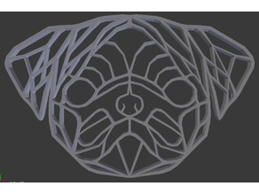 Pug wireframe wall sculpture 2D