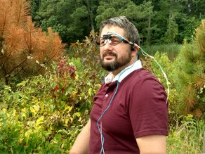 Head-mounted LiDAR array that communicates through bone conduction