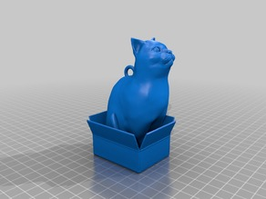 Loubie cat in box with ring to hang