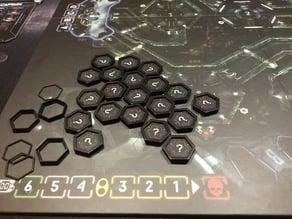 6eck-Rahmen für die Erkundungsplättchen im Spiel Nemesis