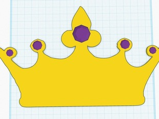 Simple Jeweled Royal Crown W/ Wall Mounted Plack