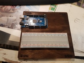 Arduino Mega with breadboard laser engraved holder