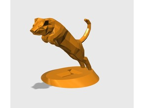 LOW POLY TIGER JUMP with STAND