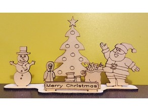 Christmas holidays scene for LASER cutting
