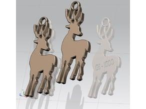 Renna Natalizia, ciondolo, portachiavi - Christmas reindeer, pendant, keychain
