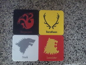 Game of thrones beverage coasters for double extruder painter