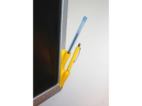 Simple pen or pencil holder for your computer monitor