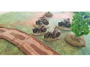 28mm WW2 motorcycle and motorcycle with sidecar