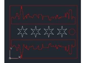 Laser Cut Chicago Skyline/Flag Keychain